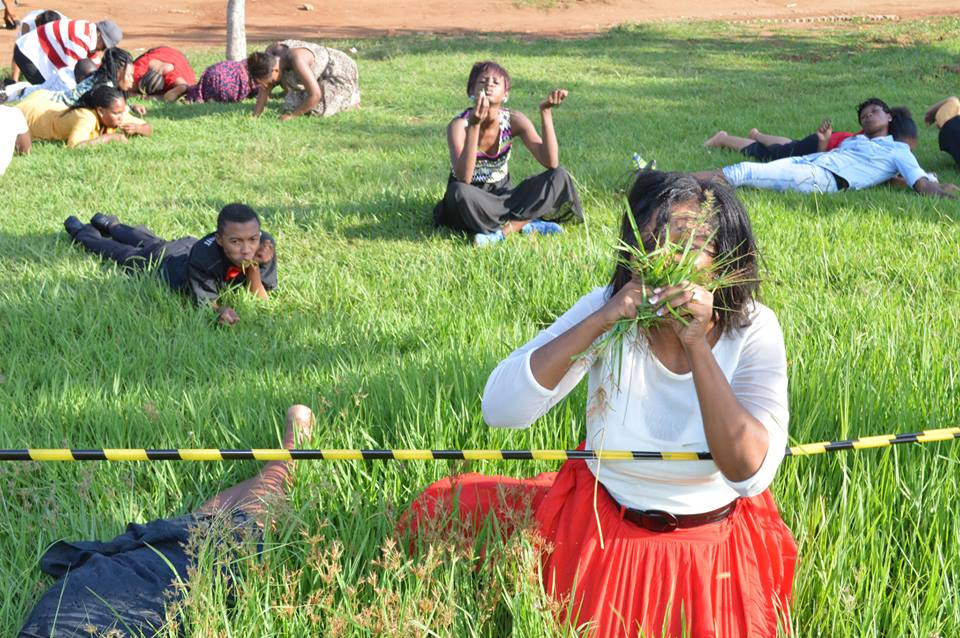People eating grass