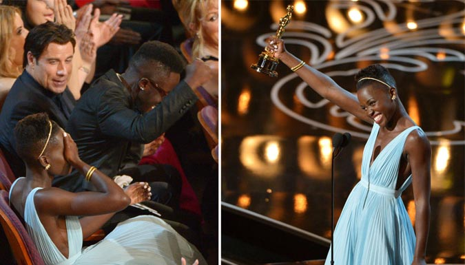 Overwhelmed Lupita as they called out her name (Photo: AP)