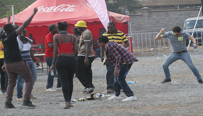 Rugby fans enjoying themselves at  Masaku 7's