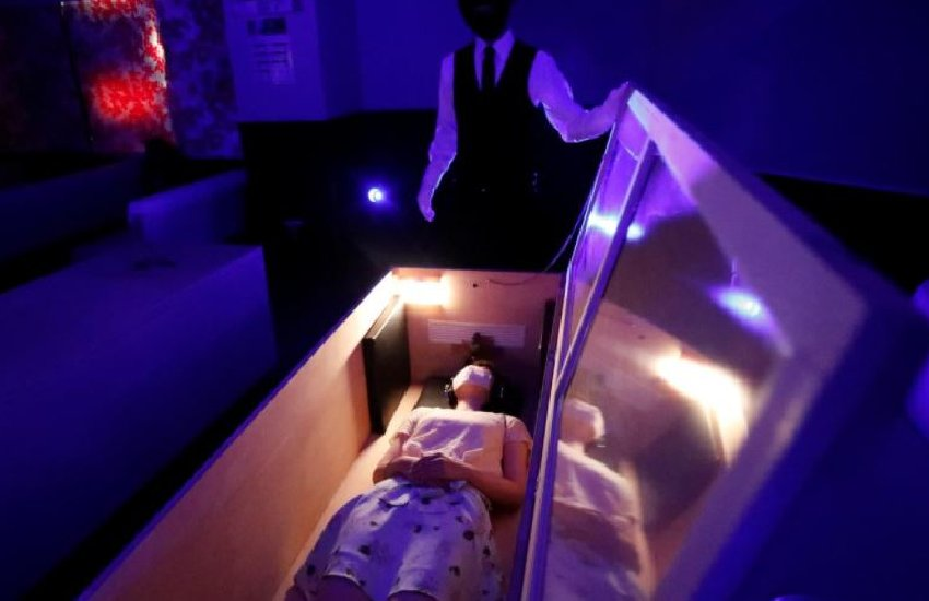 Finding Covid-19 pandemic scary? Group offers coffins for stress relief