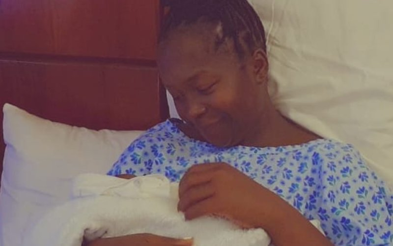 Kansiime shares photos after giving birth to baby boy