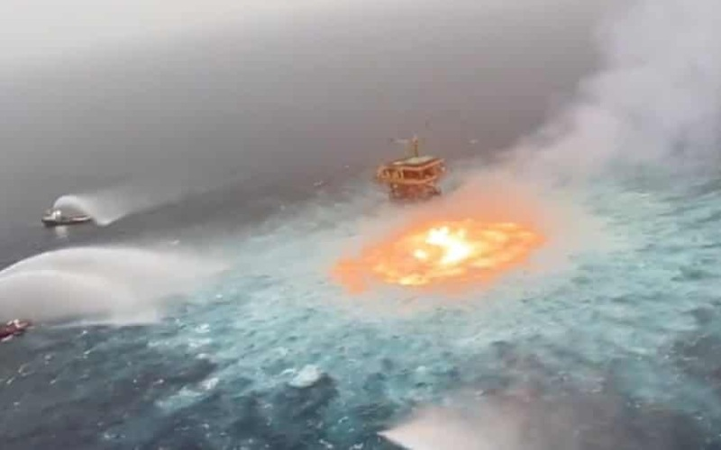 Ocean surface on fire after gas leak