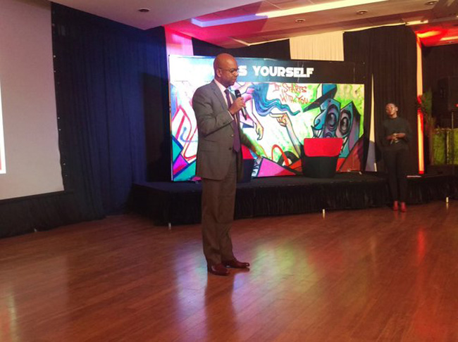 Safaricom CEO Bob Collymore gives his speech during  #BlazeKenya launch