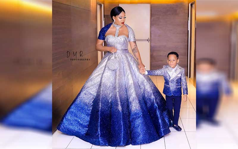 Toyin Lawani and son [Photo: Courtesy]