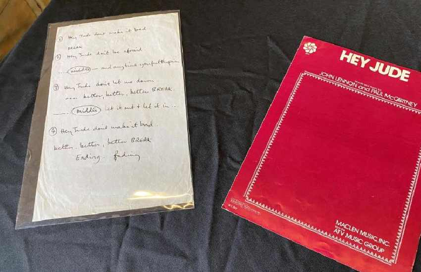 The Beatles' handwritten 'Hey Jude' lyrics sell for Sh96 million at auction