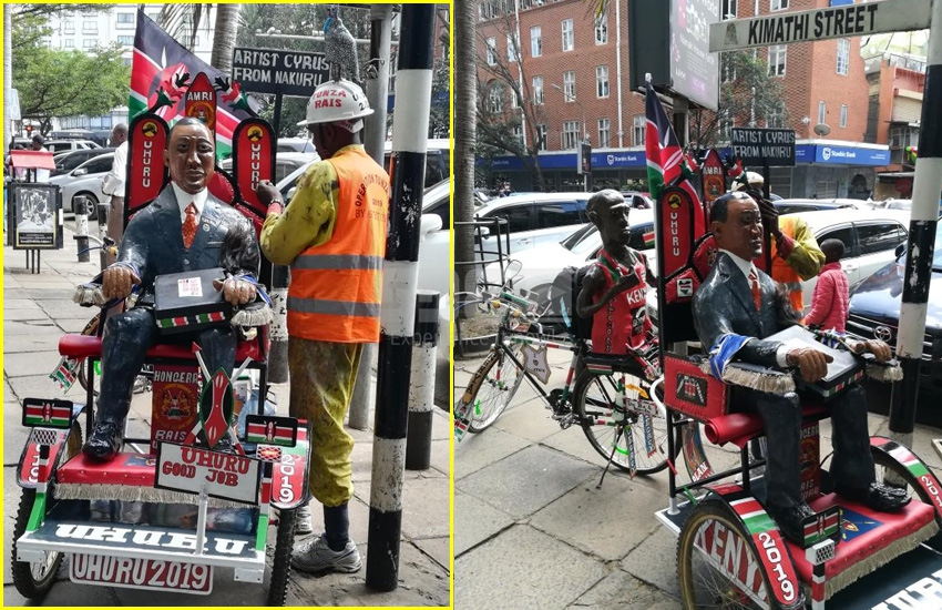 Mad love! Nakuru man cycles for five days to deliver statue for Uhuru
