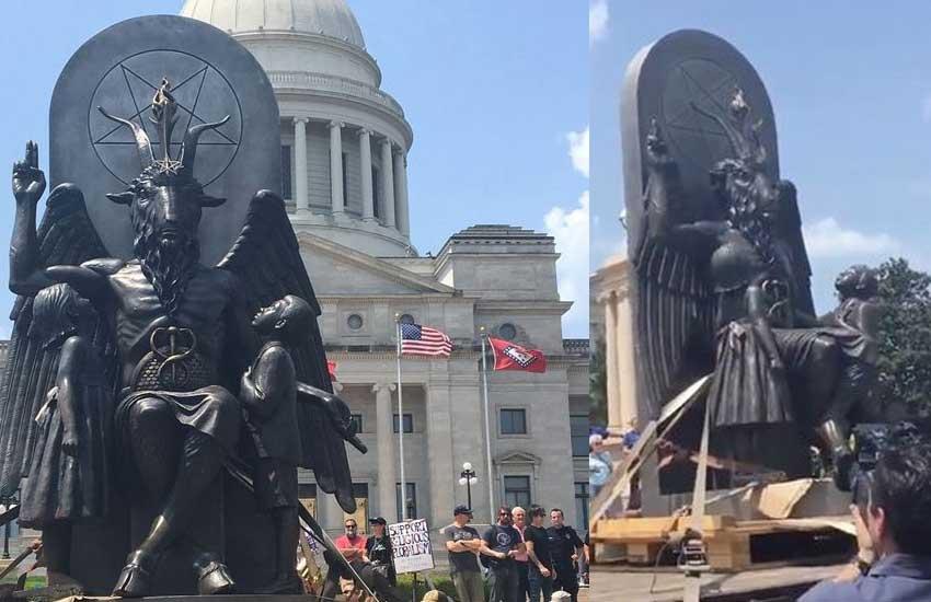 Satanic temple unveils statue outside US government building