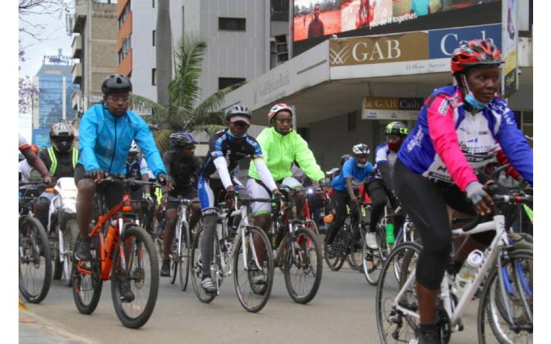 Cyclists protest death of one of them along Thika Road