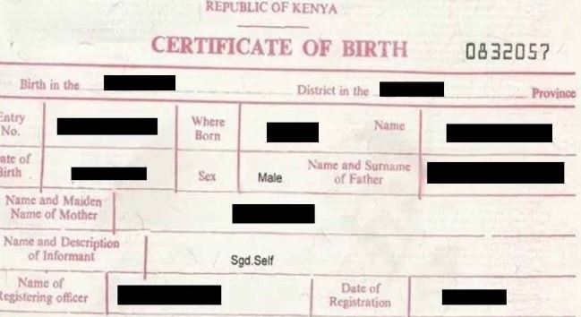 How to replace a lost birth certificate in Kenya