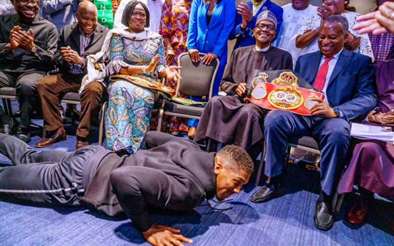 Anthony Joshua prostrates before Buhari, sets social media on fire