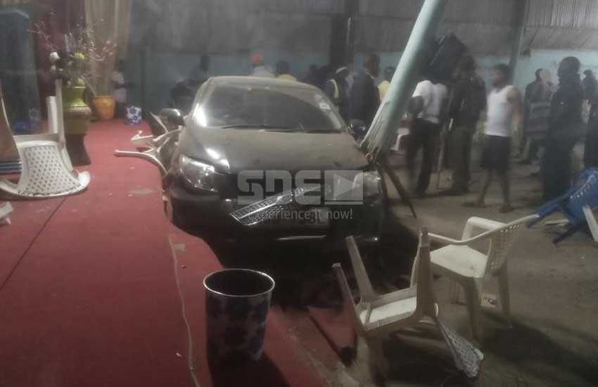 Shock as car ploughs into a roadside church, lands in the altar