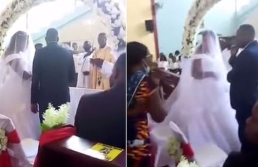 Furious wife confronts husband in church as he tries to marry woman behind her back
