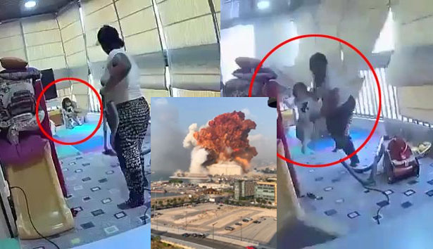 Beirut explosion: Hero maid plucks baby to safety as blast rips through building