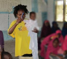 Bravest Garissa Teacher: She cut short her maternity leave, teaches while holding her baby