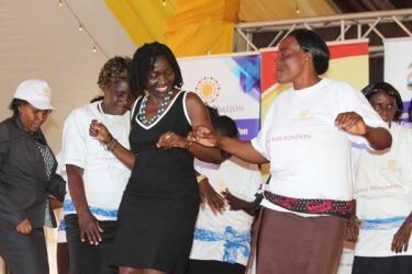 Obama's sister Auma Obama dances to traditional Kamba music