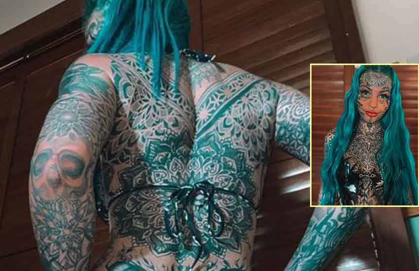 Woman spends Sh2.7 million covering entire body and face with tattoos