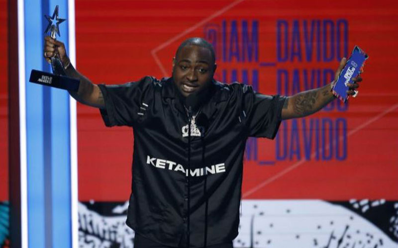 Davido, from Nigeria, accepts the award for Best I