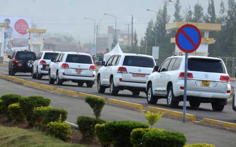 Former US President Barrack Obama's convoy to Koge
