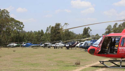Chopper parking: Governors' show of might and opulence as they attend Nderitu Gachagua's burial in luxury cars and helicopters