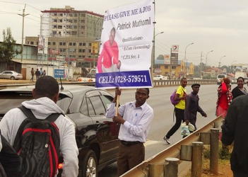 He got a job! Patrick Muthomi who advertised himself on placard along Thika Road lands a job