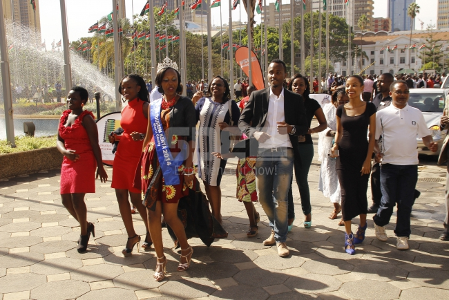 Meru contestant arrives in song and dance escorted by family and friends among them actor Nick Mutuma
