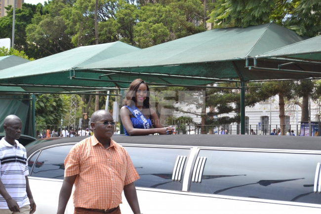 Miss Tourism Kakamega arrives in a limousine looking fearless