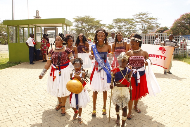 Kilifi beauty arrived performing a traditional dance at KICC