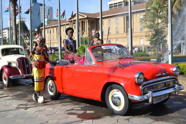 Miss Tourism Baringo County arrives in a vintage car