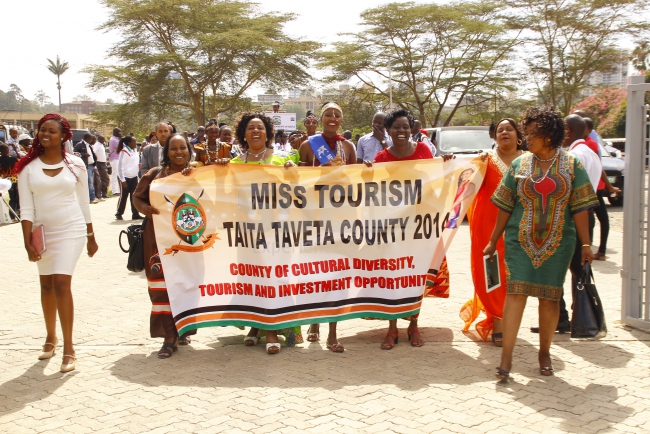 Taita Taveta contestant arrives in song and dance