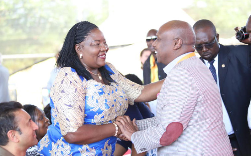 Baringo Senator Gideon Moi and Idah Odinga greet during the launch of Sauti Kuu at Kogelo village in Siaya County on July 16, 2018.  Sauti Kuu is a vocational training center and Sports facility (Phot