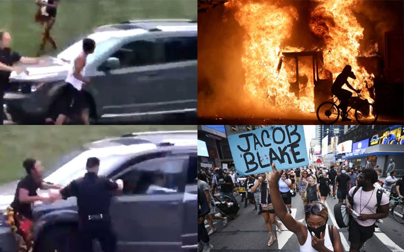 Jacob Blake: Angry protests after US police filmed shooting black man in back 7 times