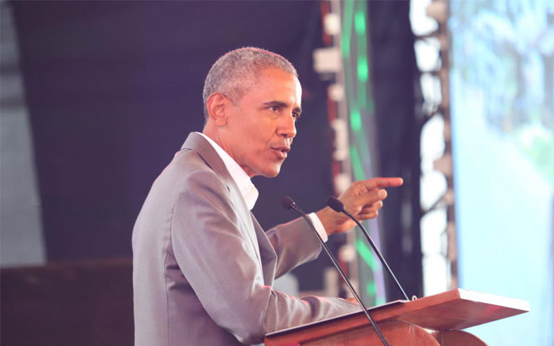 Former American president Barrack Obama addresses