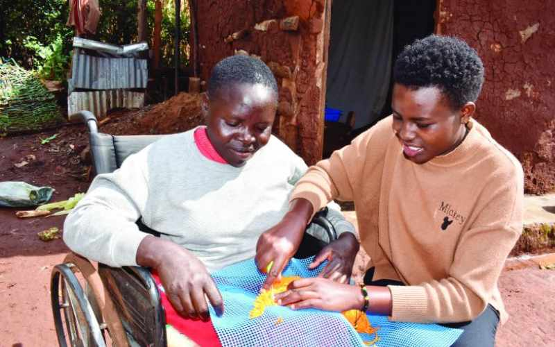 Passion: Student teaches women with disabilities how to knit mats