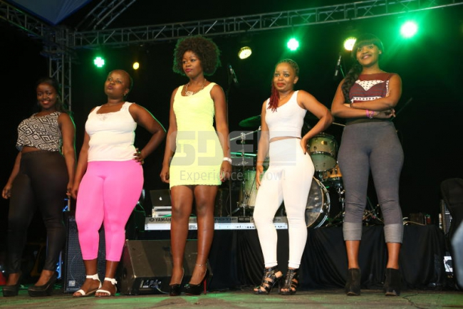 The contestants lining up on stage