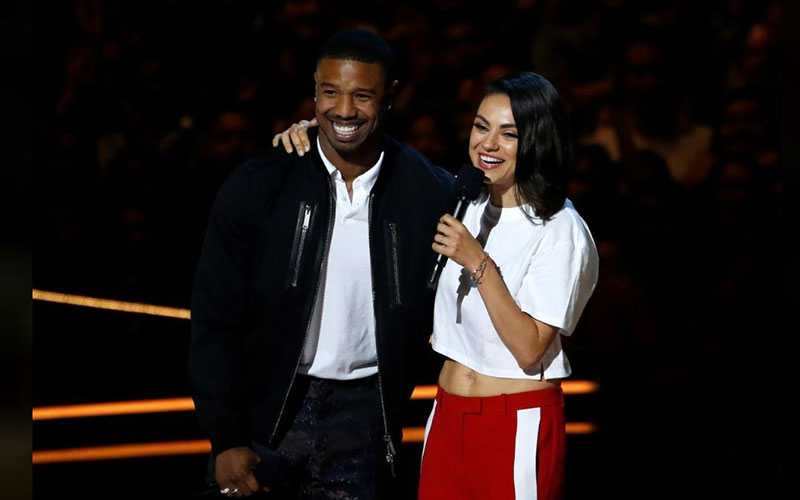 Actors Michael B. Jordan and Mila Kunis speak at M