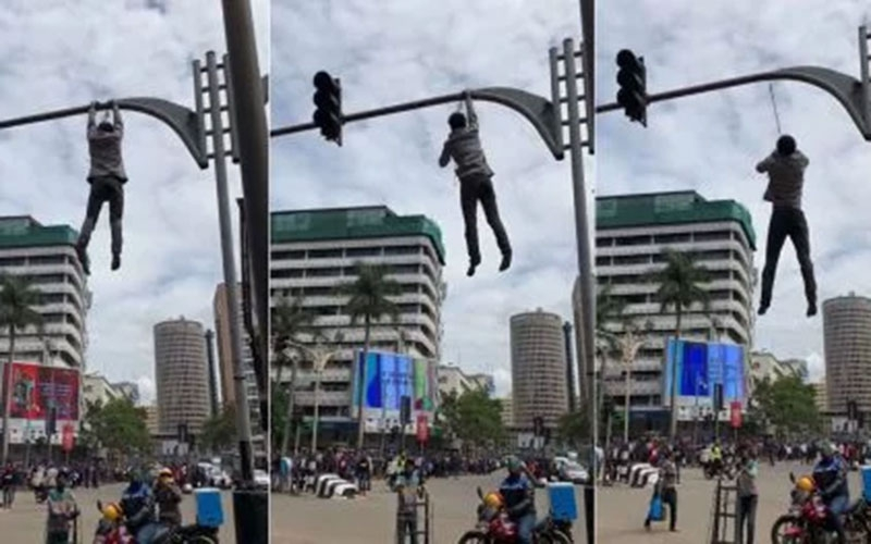 Man claiming to be Jesus tries hanging himself from traffic lights in Nairobi's CBD