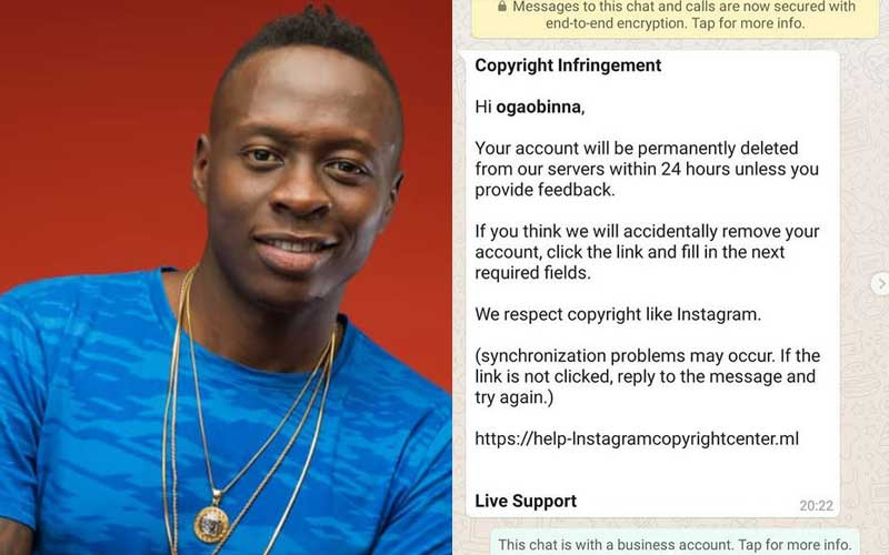 Obinna exposes cons trying to hack his Instagram account