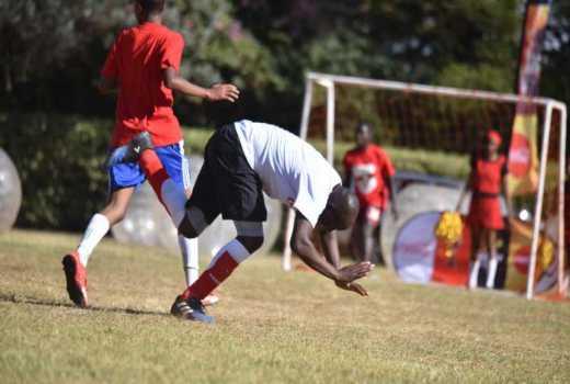PHOTOS: Kipchumba Murkomen falls during legislators' football match