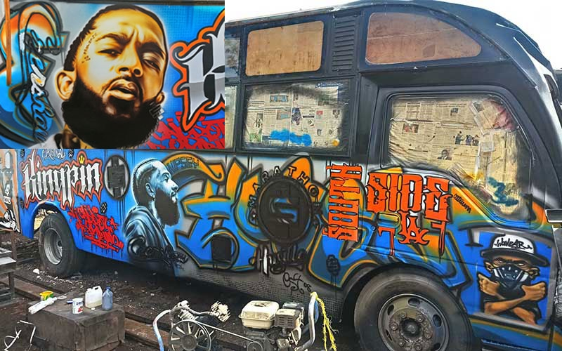 PHOTOS: Matatu commemorating Nipsey Hussle set to hit Kenyan roads
