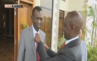 William Ruto adjust his sons' ties as family prepares for inauguration