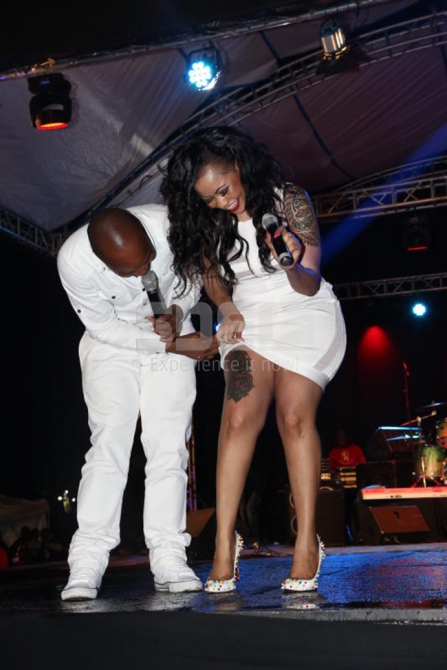 Mcee Jalang'o and Vera Sidika on stage as she show
