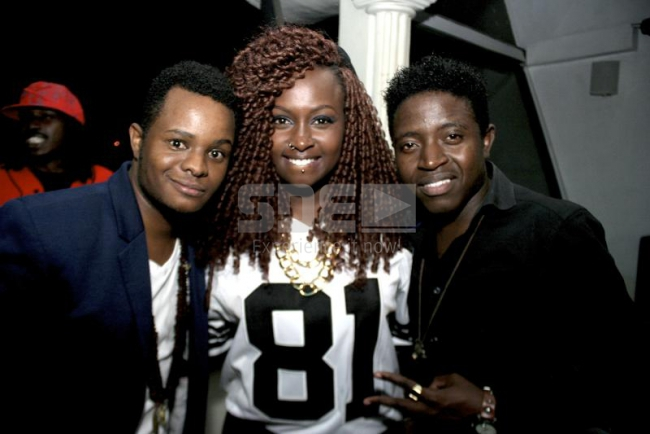 Tusker project fame artist Amos and josh with rapper xtatic at Mos Def concert  at Ebony Lounge.PHOTO DAVID GICHURU