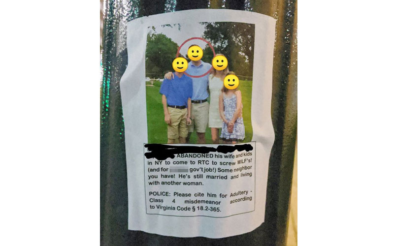 Furious wife puts up posters after husband's cheating