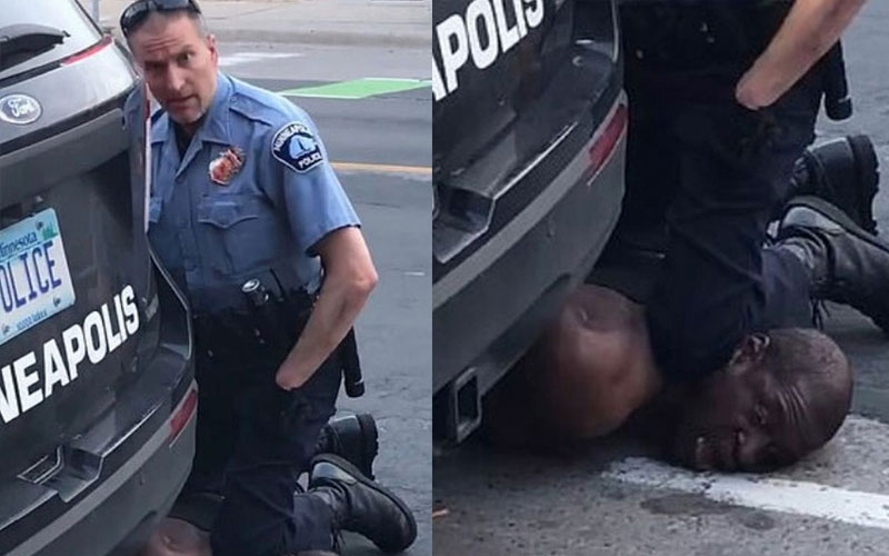 Handcuffed black man dies after white policeman kneeled on his neck during arrest