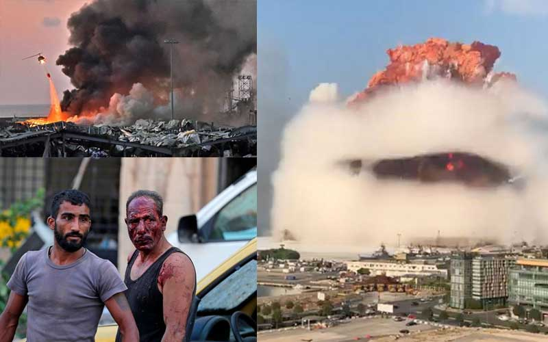 Journalist films horrifying moment office collapses after Beirut blast in interview