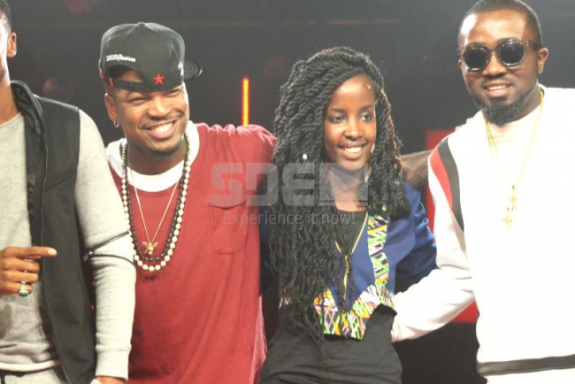 From left, Ne-yo,our very own rapper Wangeci and Nigerian artist Ice Prince Zamani come together to release a new song at Coke Studios Photo: Angela Maina/Standard