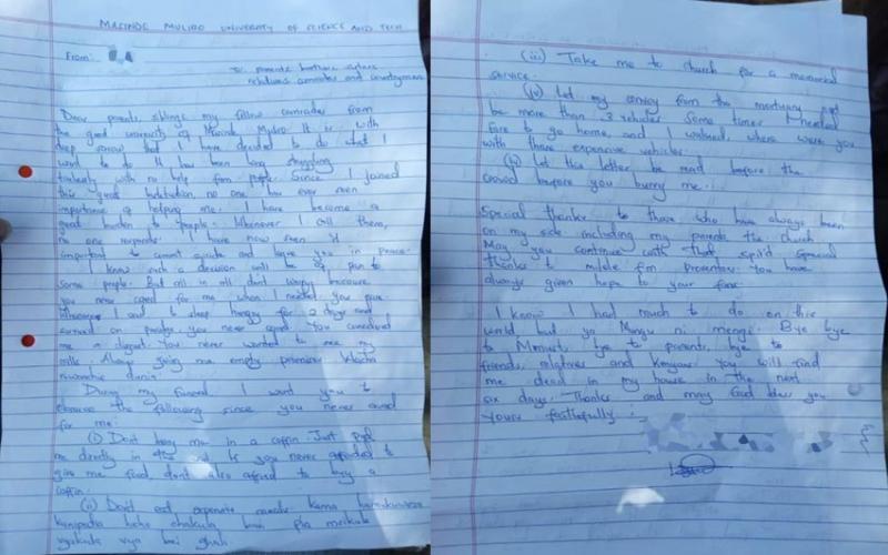 Chilling 'Masinde Muliro University suicide note' forwarded to DCI