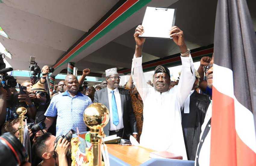 In full: This is the 'oath' Raila Odinga took at Uhuru Park