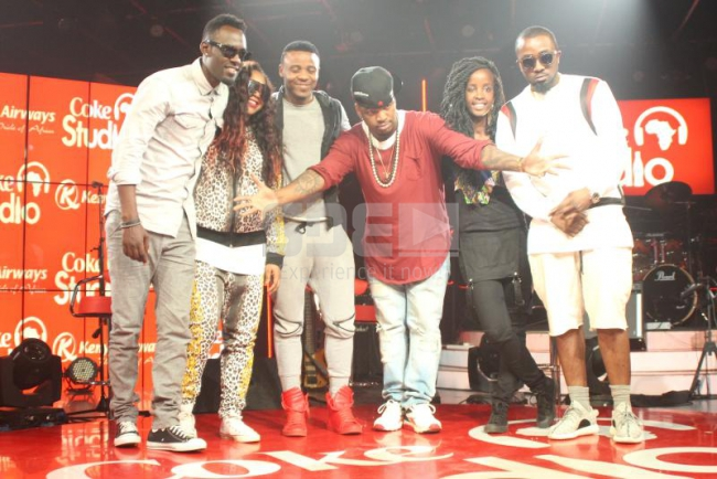 From left,Maurice Kirya from Uganda, Damado Bling from Mozambique,Tanzanian sensation Ali Kiba, United States Artist Neyo,our very own rapper Wangeci and Nigerian artist Ice Prince Zamani come togethe